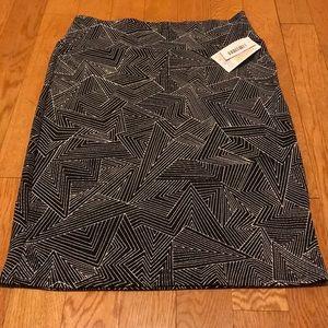 Lularoe Cassie skirt black white design Large NWT
